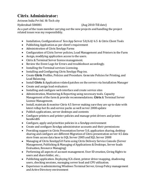 Sle Resume For Administrative Office Manager Administrative Management Computer Operations Cover 28 Images Citrix Administration Sle