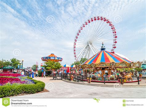 navy pier swings the ferris wheel and carousel are popular attractions on