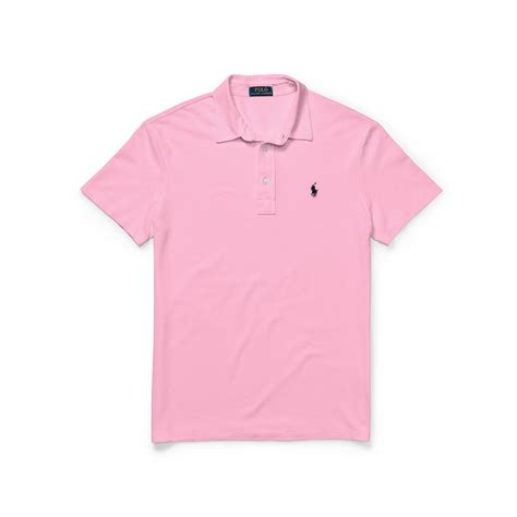 polo ralph featherweight mesh polo shirt in pink for lyst