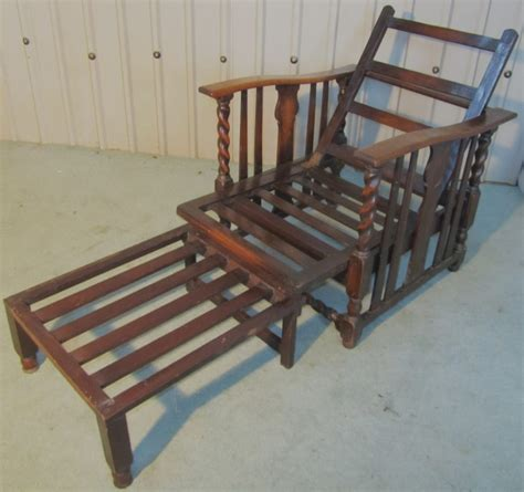 reclining bed chair victorian barley twist oak reclining or bed chair