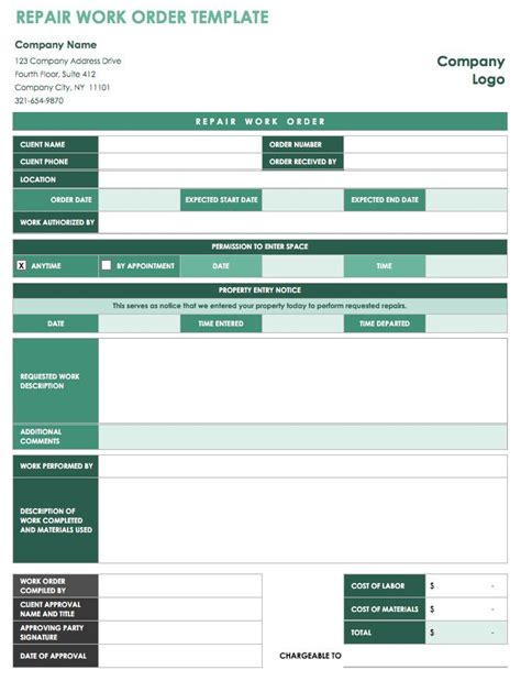 15 Free Work Order Templates Smartsheet Construction Work Order Template Excel