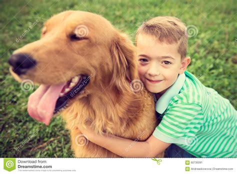 boy hugging  golden retriever pet dog stock