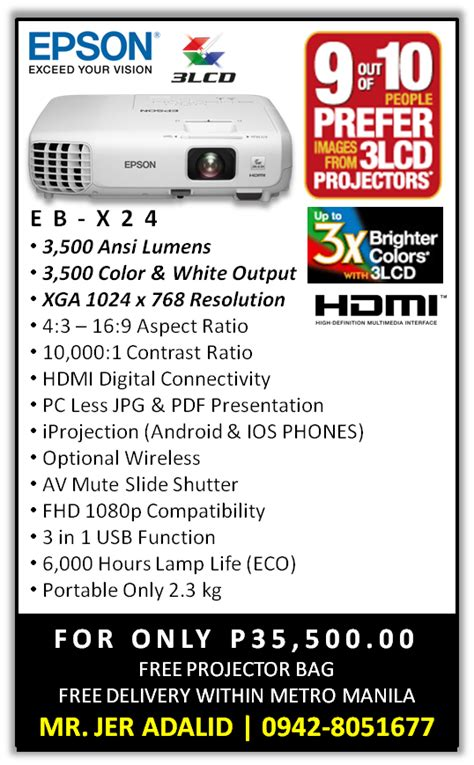 Projector Epson Eb X24 epson ebs18 lcd projector epson ebs18 portable 3 000 ansi lumens lcd projector
