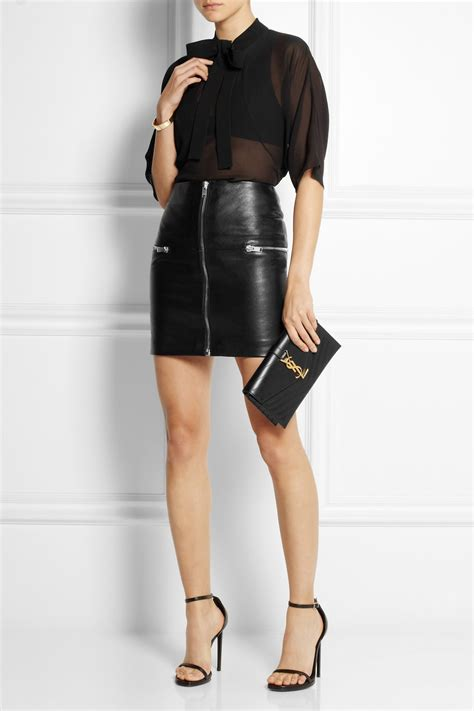 laurent zip trimmed leather mini skirt in black lyst