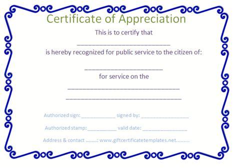 blue certificate template blue border certificate of appreciation template