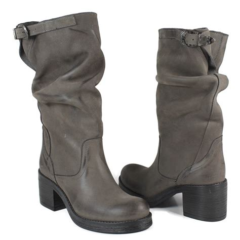 grey biker boots mid biker boots with heel in genuine leather gray nubuck