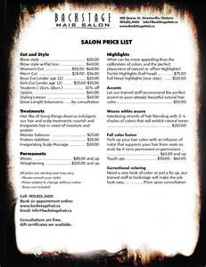 hair salon price list template free salon price list template free