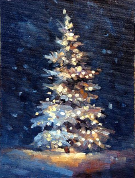 acrylic art christmas scene christmas tree beautiful