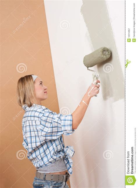 home improvement blond painting wall royalty free