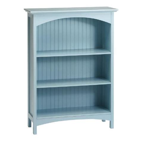 light blue beadboard 3 shelf bookcase tree