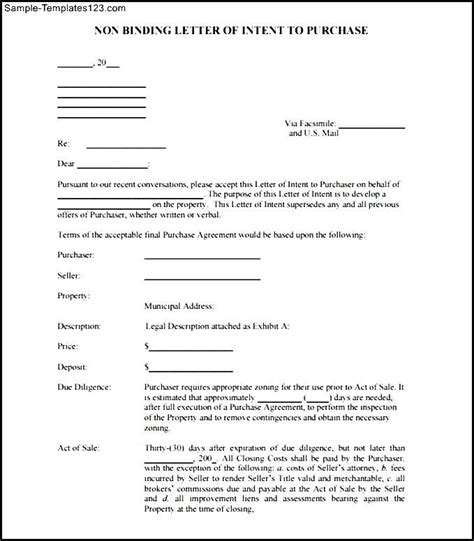 Non Binding Letter Of Intent Letter Of Recommendation