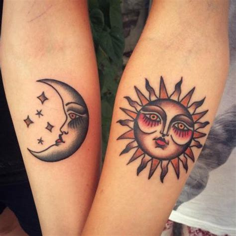 sun and moon best friend tattoos best friend tattoos on