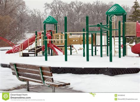 playground bench icy playground and park bench stock photography image 36180942