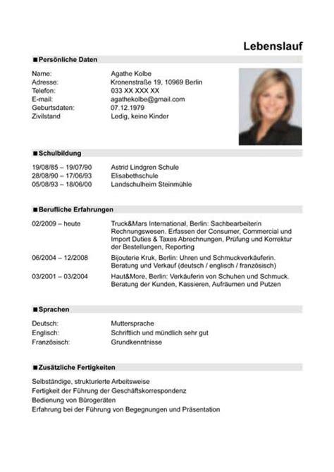 Cv Auf Pdf Curriculum Vitae Resume Template Sle German Austria