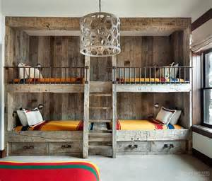 bunk rooms rustic country bunk room features built in barnwood bunk beds dressed in yellow bedding flanking