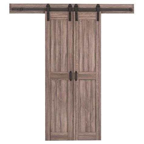 Shop Reliabilt 2 Panel Square Barn Interior Door Common Lowes Interior Sliding Doors