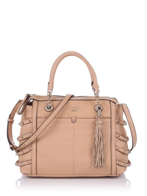 Other Designers Guess The With The Bag guess isella satchel bag in beige lyst