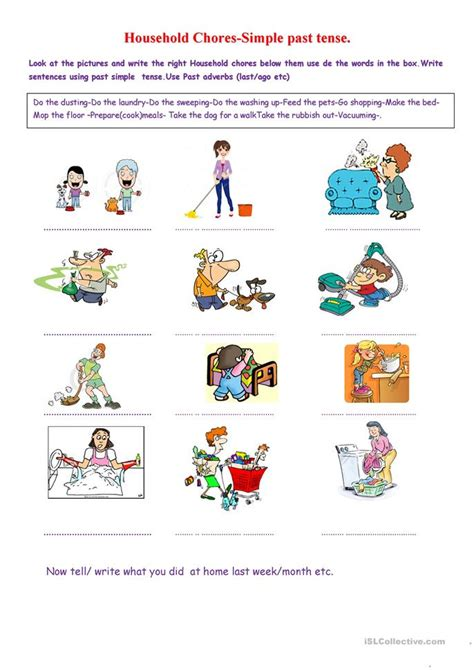 household needs household chores past simple worksheet free esl printable worksheets made by teachers