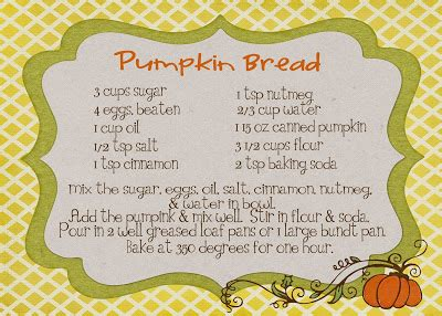 pumpkin recipe cards templates free from ashes recipe cards