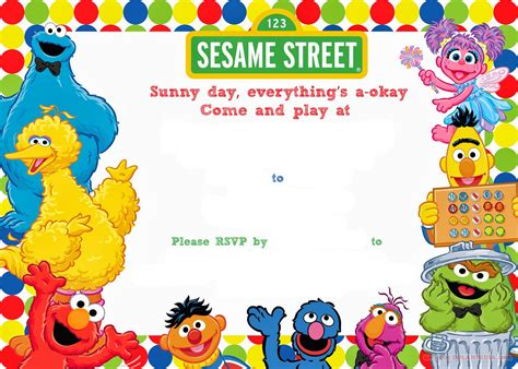 sesame templates free free printable sesame birthday invitation drevio