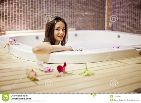 girl bathtub girl in hot tub stock image image of hotel model blue