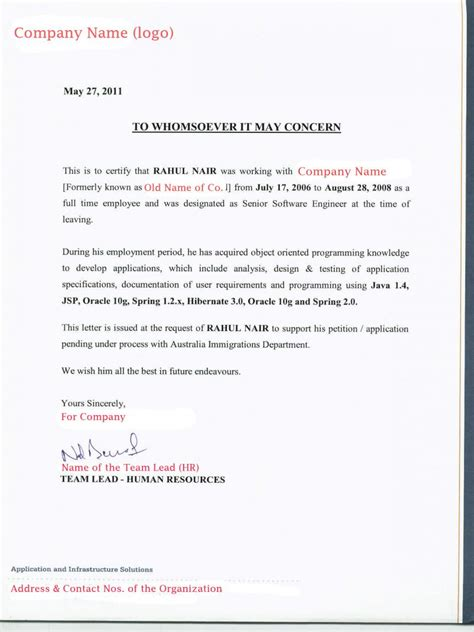 Attestation Letter Sle For Employment letter of attestation for immigration 28 images letter