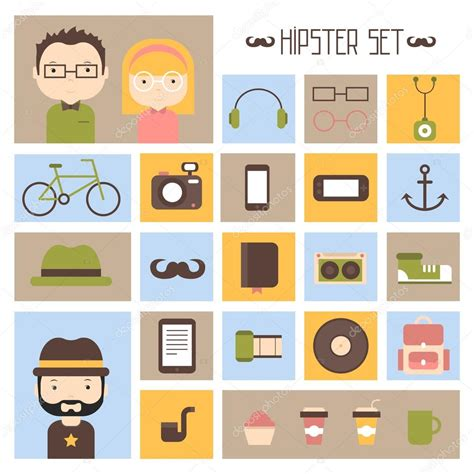 retro style pet icons set vector free download hipster vector colorful style elements and characters