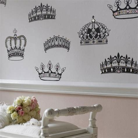 celebrate the royal wedding with british interior decor bejeweled crowns and coronets wallpaper is inspired by the