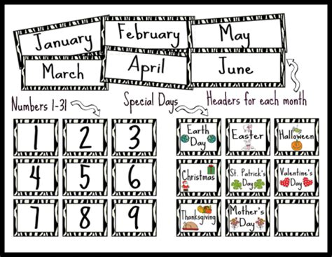 printable calendar classroom zebra themed calendar set printable worksheet with answer