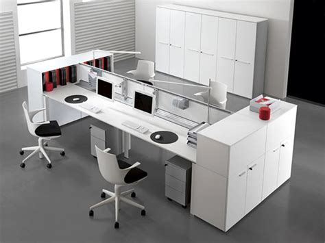 Modern Office Interior Design with Double Entity Desk with