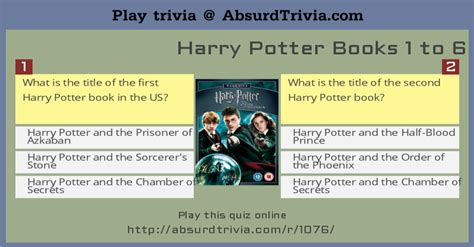quiz questions books harry potter books 1 to 6 quiz
