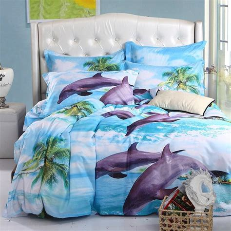 mingjie blue dolphin 6d bedding set 4pcs fitted cover sets