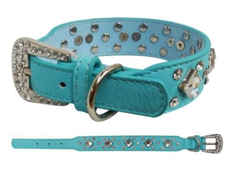 teal collar showman couture medium teal leather collar w rhinestones ebay