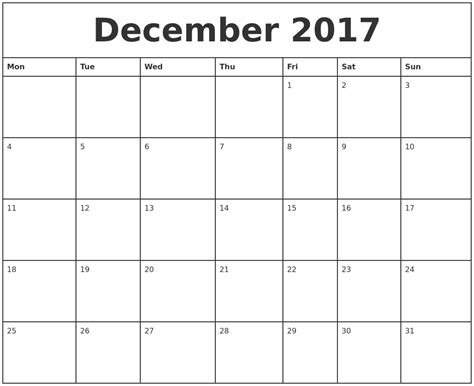 Printable Monthly Calendar For December 2017 | december 2017 printable monthly calendar