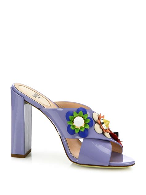 Purple And Lilac Leather Flower Embellished Suede Peep Toes At Debenhams by Lyst Fendi Flowerland Embellished Patent Leather Mules