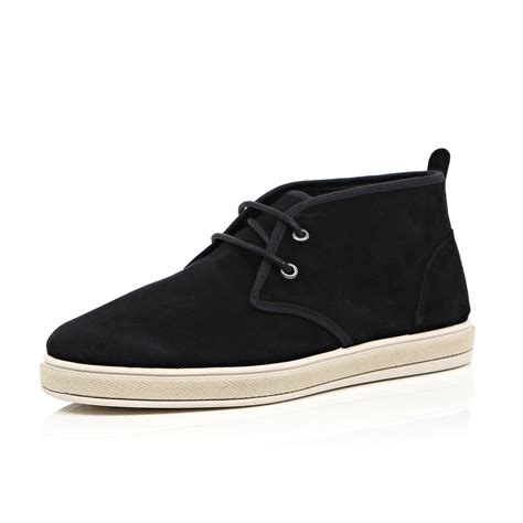 river island black suede desert boots in black for