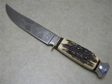 solingen kitchen knives g c co solingen germany guttmann cutlery co 467 stag scout etch fixed blade sheath knife