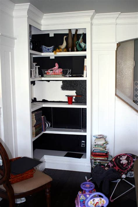 painting built in bookcases remodelaholic pr 2 painting the bookcase interiors black