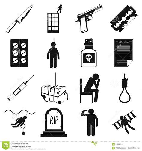 imagenes de simbolos suicidas iconos fijados estilo simple del suicidio ilustraci 243 n del