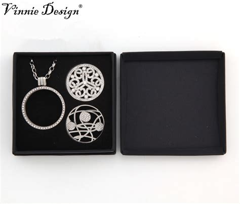 Coin Set By Cm vinnie design jewelry 8cm 8cm gift box for 33mm coin set can fit pendant chain necklace and