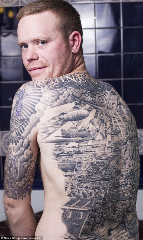 british tattoo history war buff has huge tattoo of d day including tanks and a