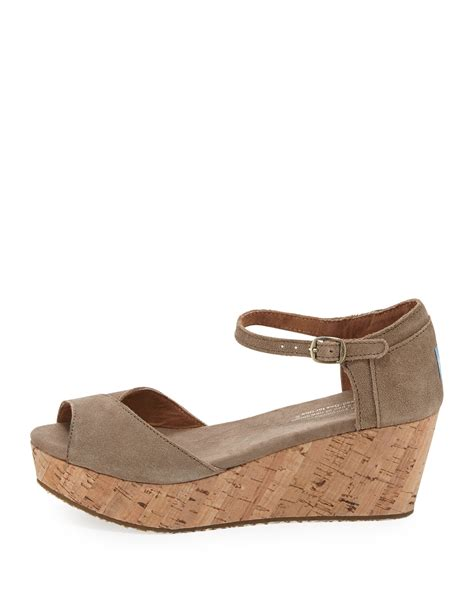 toms suede platform wedge sandal taupe in brown lyst