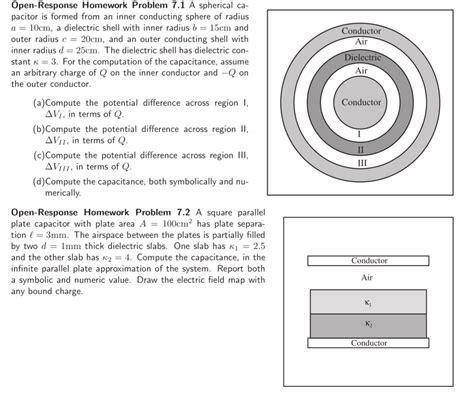 spherical capacitor when inner sphere is earthed pdf spherical capacitor is formed from an inner conduc chegg