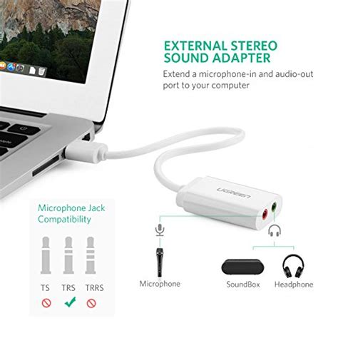 Kabel Adapter Sound Card External Usb To 3 5mm ugreen usb audio adapter external stereo sound card with 3 5mm headphone and microphone for