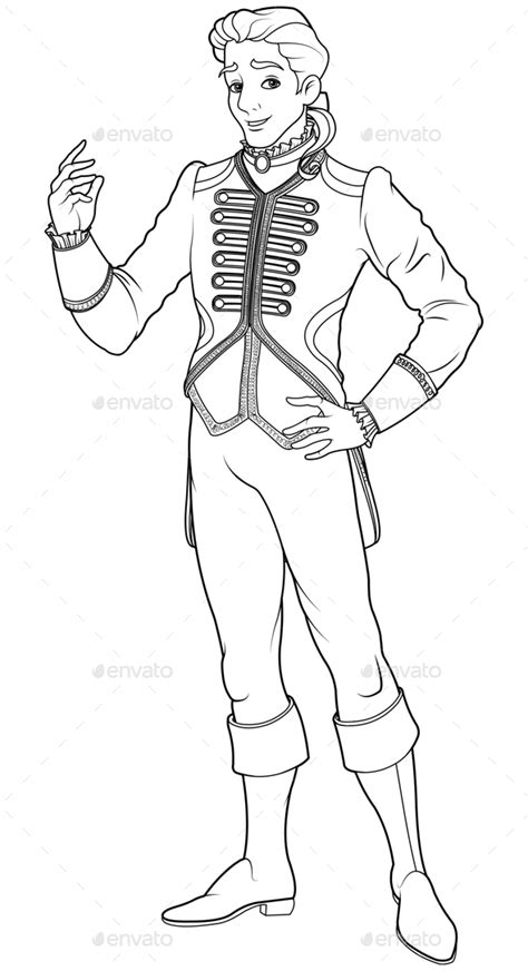 Handsome Prince Coloring Pages by Prince Charming Coloring Page By Dazdraperma Graphicriver