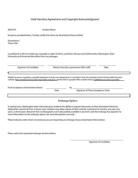 41 free hold harmless agreement templates free free