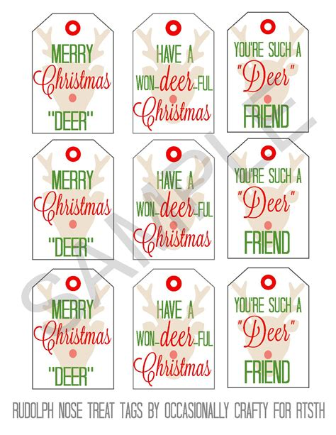 printable rudolph gift tags rudolph nose treats printable gift tags reasons to