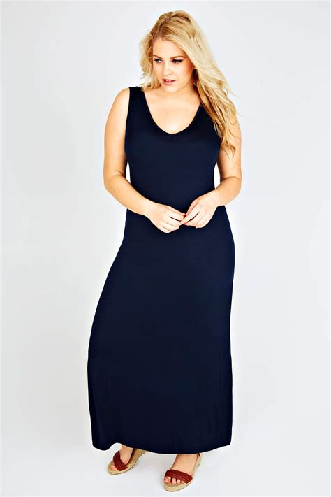 Gamis Jersey Maxi Dress navy plain v neck sleeveless jersey maxi dress plus size