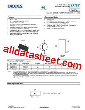 diodes inc ta suffix fmmt491ta 数据表 pdf diodes incorporated