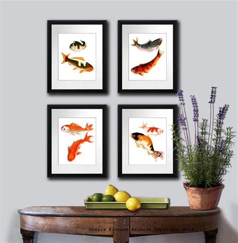 zen wall fish print set of 4 koi fish prints